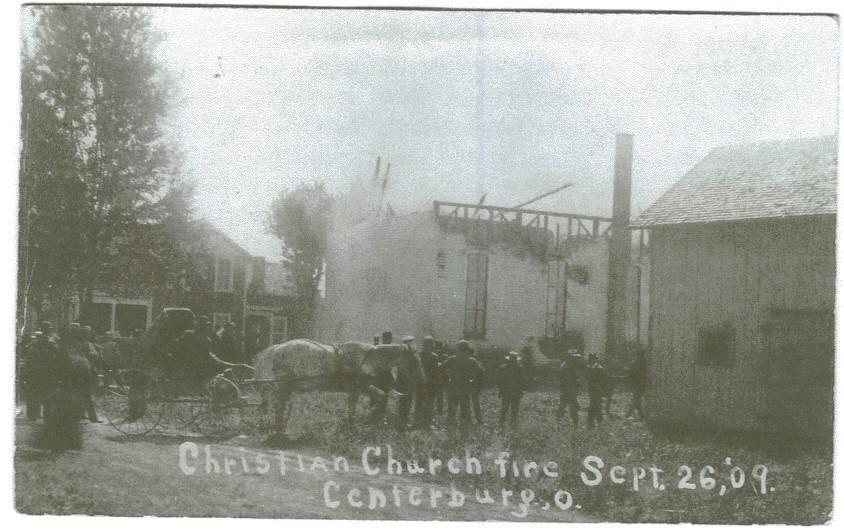 Centerburg Christian church fire after the steeple fell.