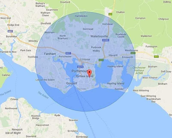 map of area covered around portsmouth