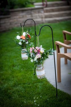 Natural wildflowers in mason jars