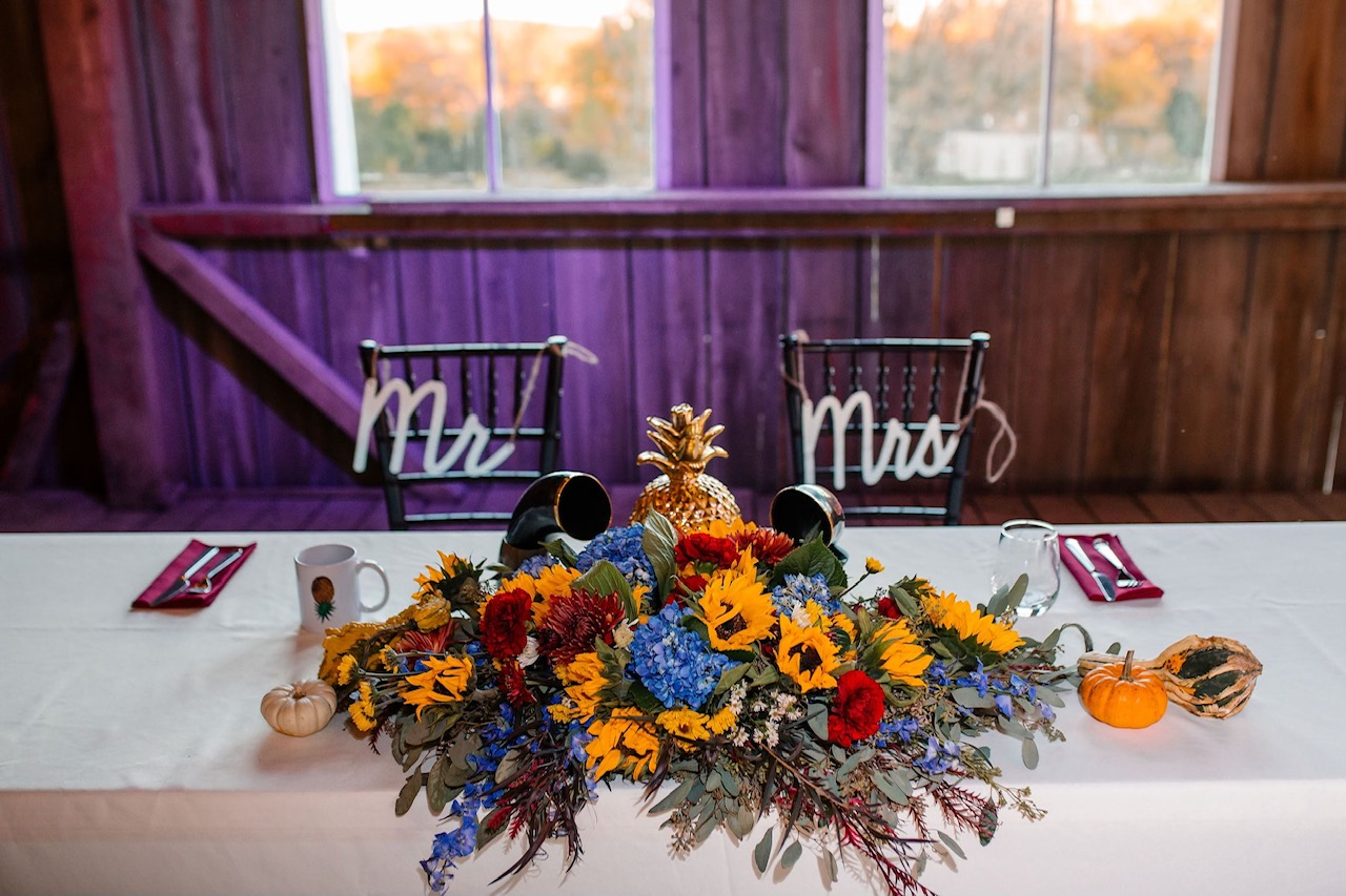 Sweetheart table barn wedding