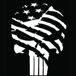 American Flag Punisher Skull Tattered