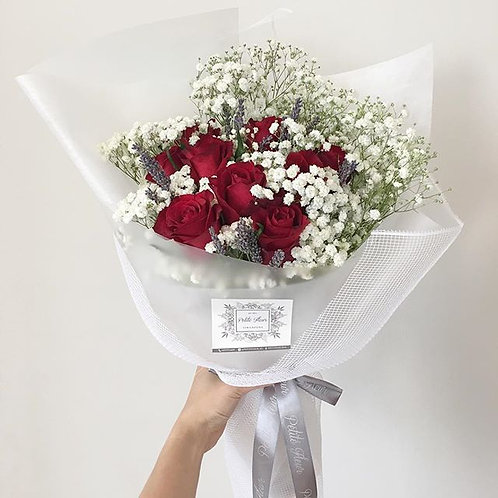 Red Roses, Baby's Breath and Lavender