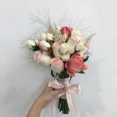 Astilbe and roses Bridal Hand Bouquet