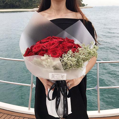 36 Premium Roses with Gypsophila