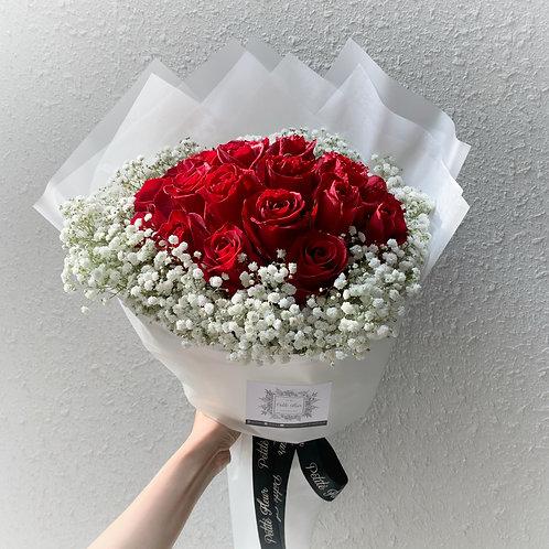 24 Premium Roses with Gypsophila