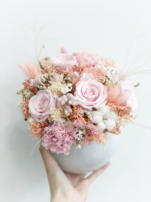 Dried and Preserved Flowers in a Round Vase