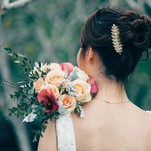 Calla Lily, champagne rose Bridal Hand Bouquet