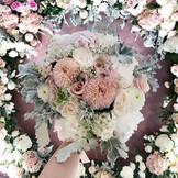 ranunculus, hydrangea, dusty miller Bridal Hand Bouquet