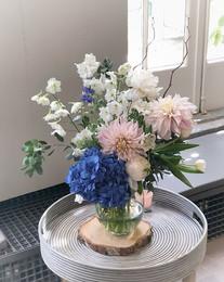 Vase arrangement of the gorgeous blue hy