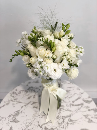 Freesia and Eustoma Bridal Hand Bouquet