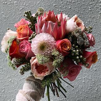 Dahlia, Protea, Roses Bridal Hand Bouquet