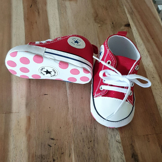 Red toddler converse shoes