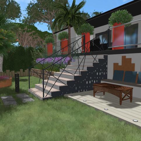 Conception 3D - Petite terrasse avec ban
