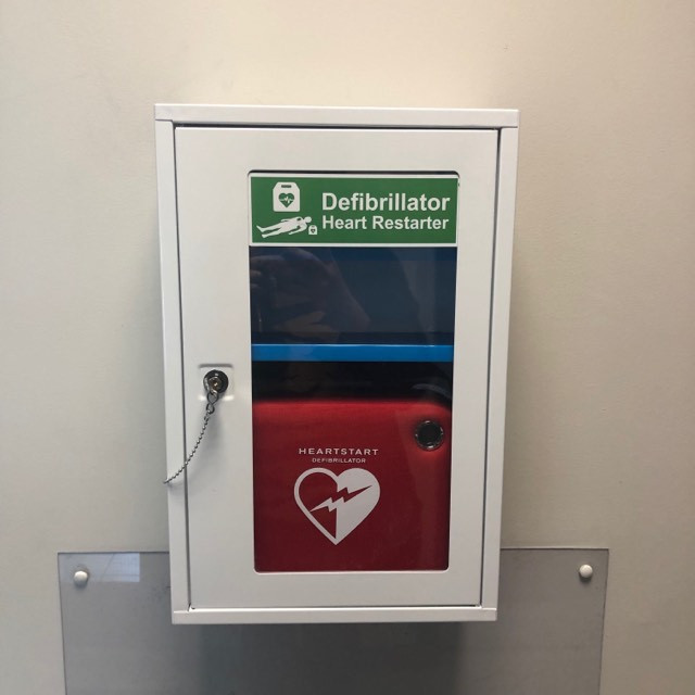PRM Group's defibrillator - Located in the Transport Reception Area