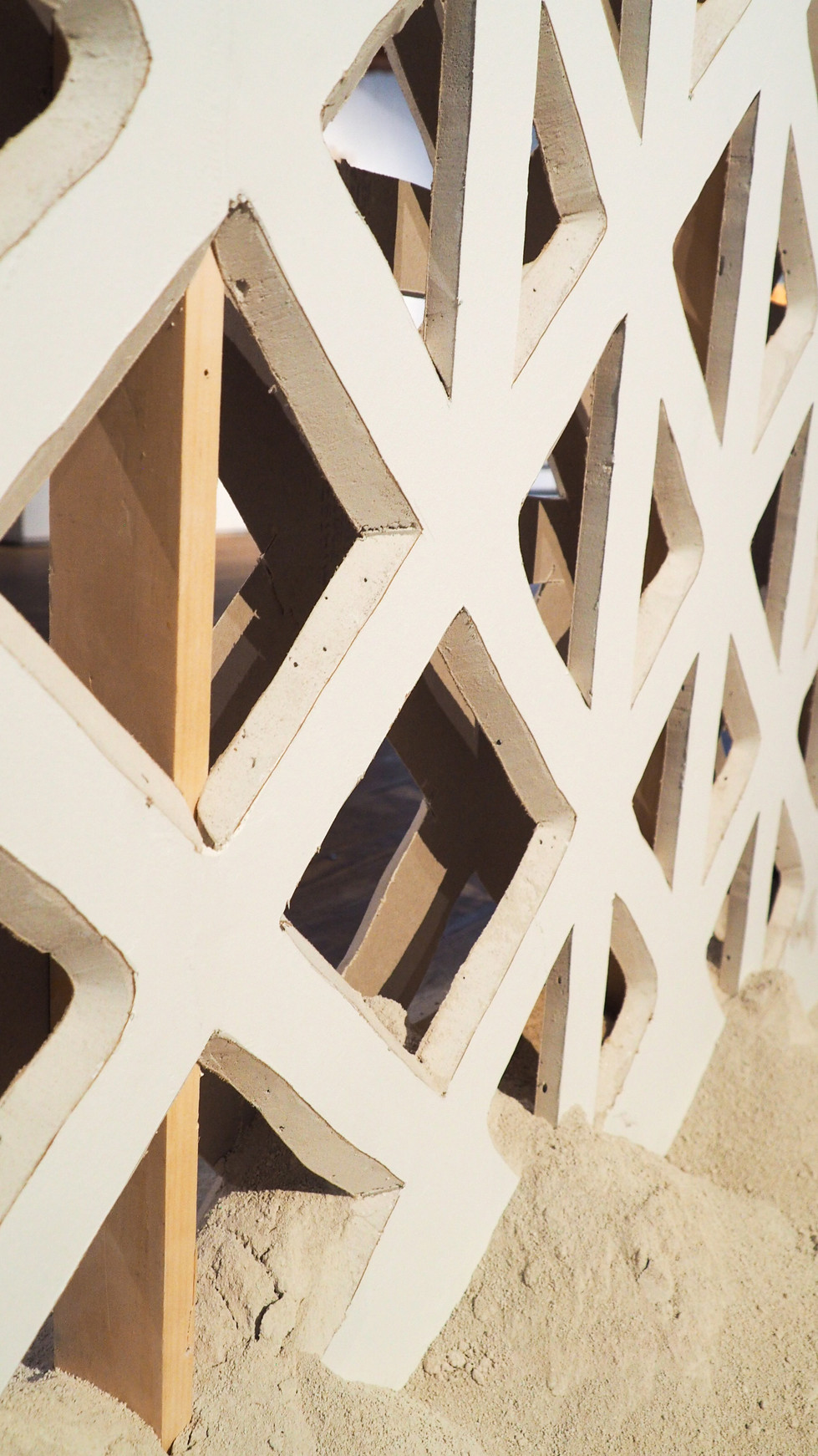 Cutwork, hand carved drywall and dust, H