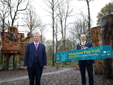 Poots opens £850,000 Adventure Play Trail in Gosford Forest Park