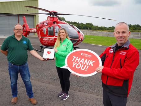 SPAR NI marks Air Ambulance Week with defibrillator donation to Air Ambulance NI