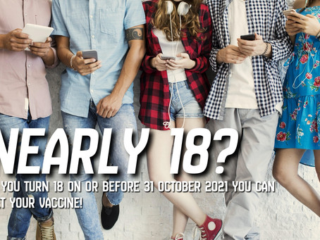 Walk in Vaccines available for  nearly 18s at Regional Centres
