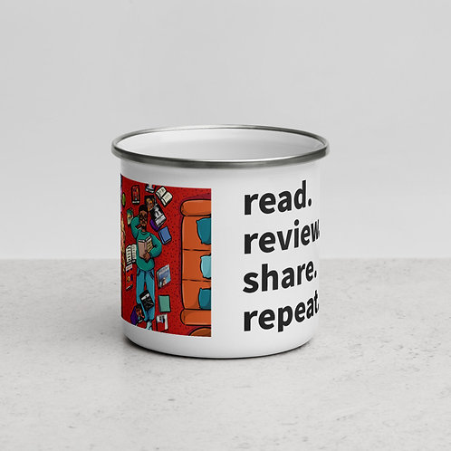 Read. Review. Share. Repeat. Enamel Mug (Man reading)