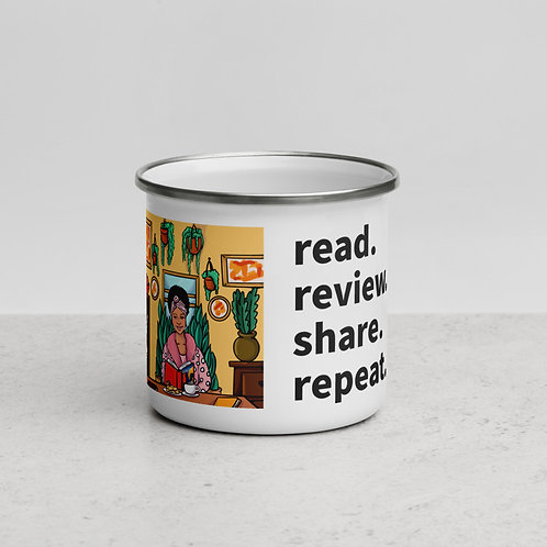 Read. Review. Share. Repeat. Enamel Mug (woman reading)