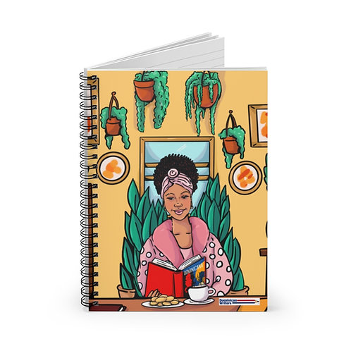 Woman reading Dominicana by Angie Cruz-Spiral Notebook - Ruled Line