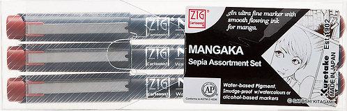 Zig Mangaka 3pc Outline Set (Sepia)