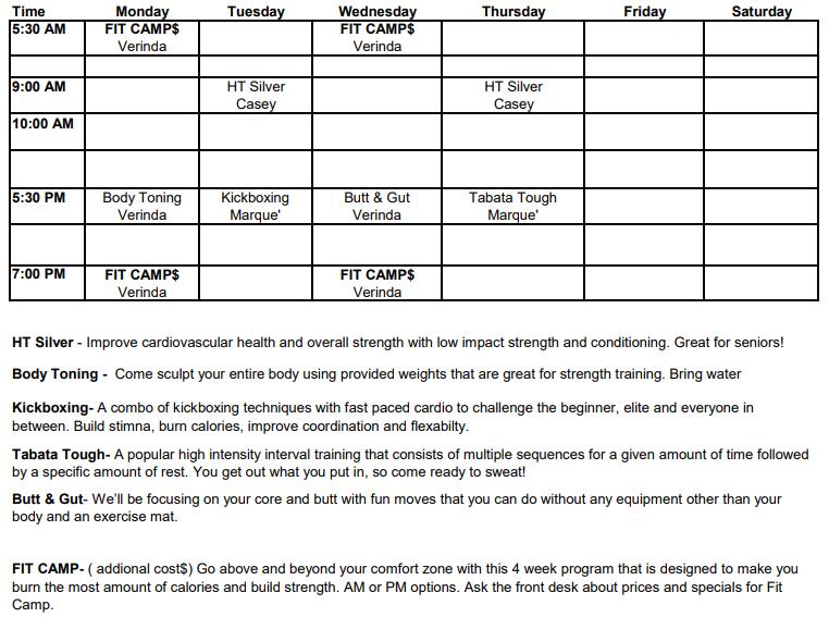 Group Class Schedule La Grange May 2021.