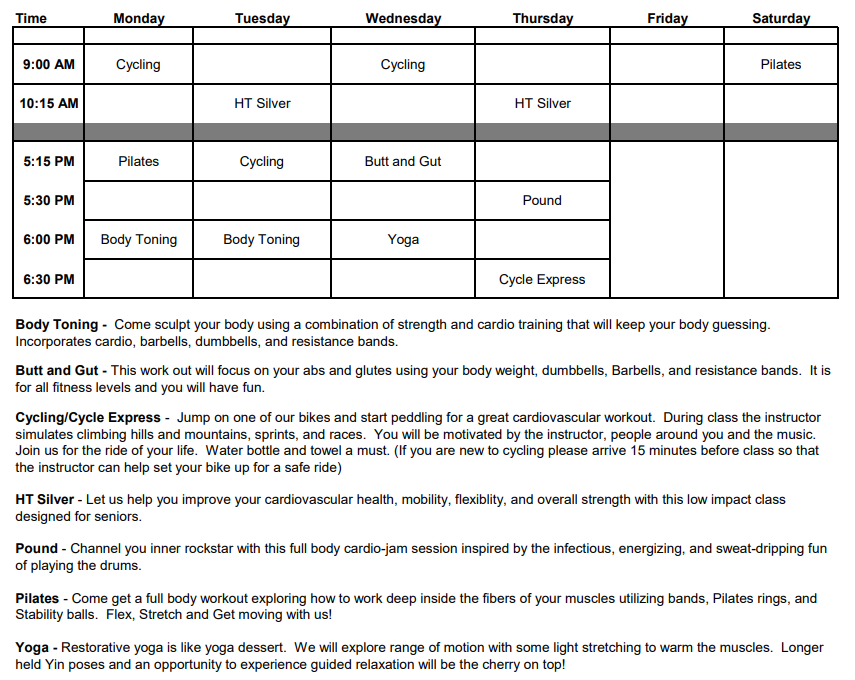 Group Class Schedule Bastrop March 2021.