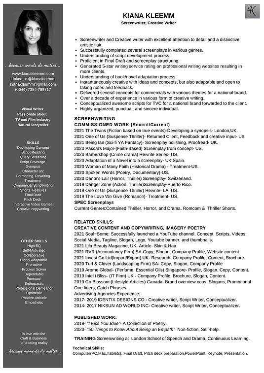 Kiana screenwriting resume