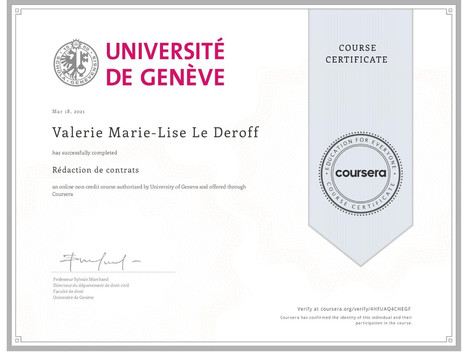 Certificate in Contract Drafting (rédaction de contrats) from Université de Genève