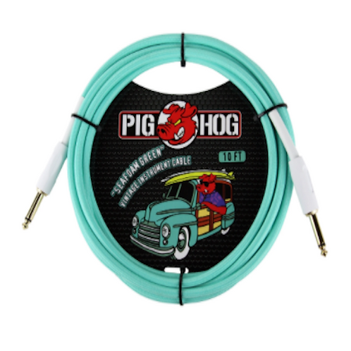 Pig Hog Sea foam Green Vintage Instrument Cable 10Ft