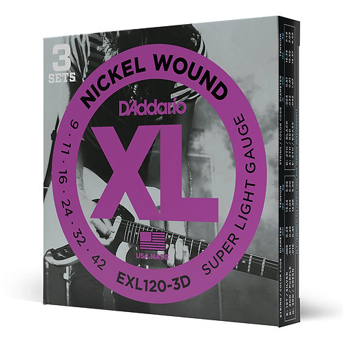 D'Addario EXL120-3D Nickel Wound Electric Guitar Strings, Super Light Gauge 3-Pa