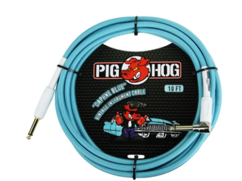 Pig Hog Daphne Blue Vintage Instrument Cable 10ft R