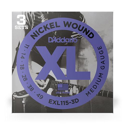 D'Addario EXL115-3D Nickel Wound Electric Guitar Strings, Medium/Blues-Jazz Rock