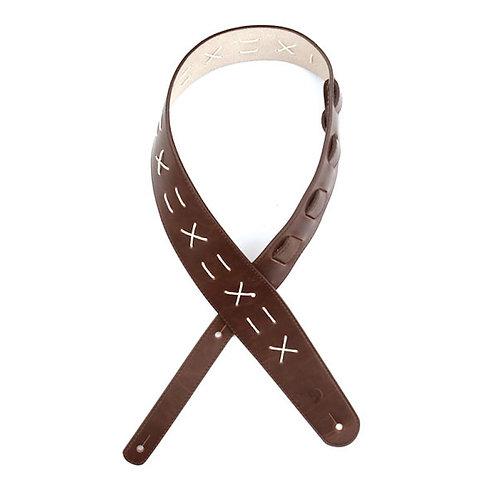 D'Addario Brown Leather Stitch Strap