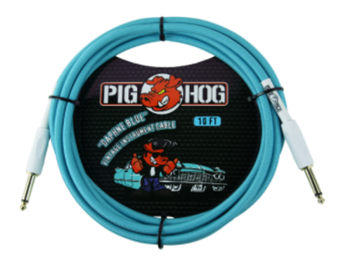 Pig Hog Daphne Blue Vintage Instrument Cable 10ft