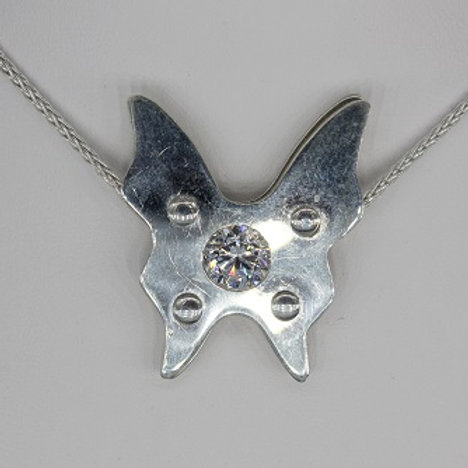 Sterling Silver Riveted Butterfly, Crystal Quartz