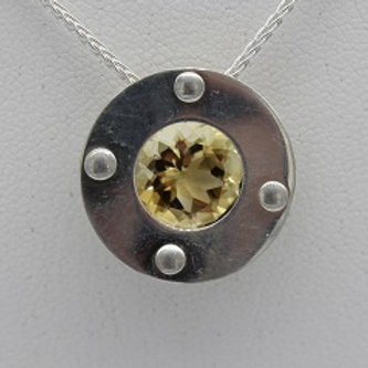 Sterling Silver Riveted Circle, Citrine