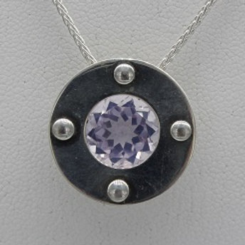 Sterling Silver Riveted Circle, Lavender Moonstone