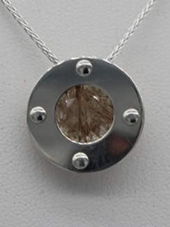 Sterling Silver Riveted Circle w/ Rutile Quartz (nat)