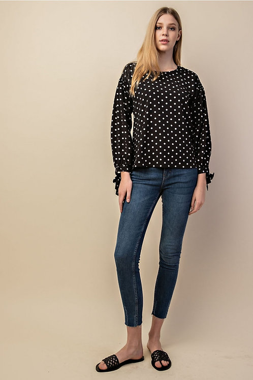 Black and White Polka Dot Tie Sleeve Top