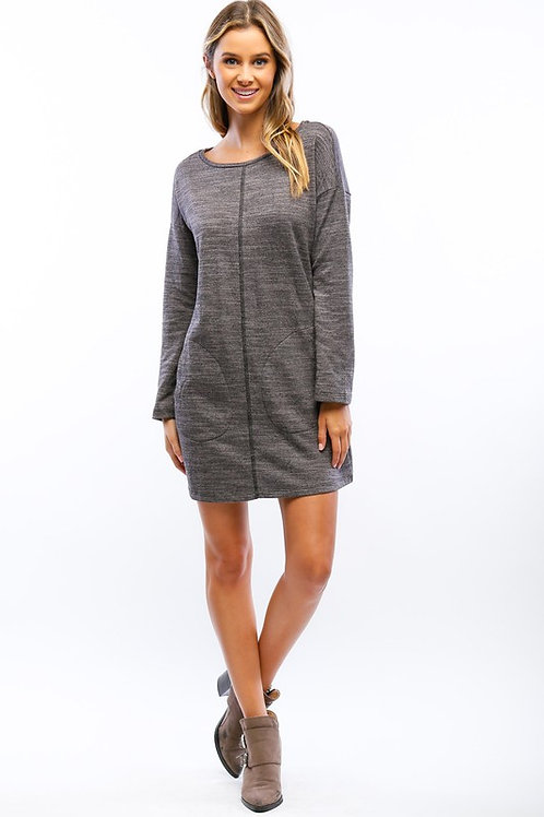 Gray Marbled French Terry Dress with Pockets