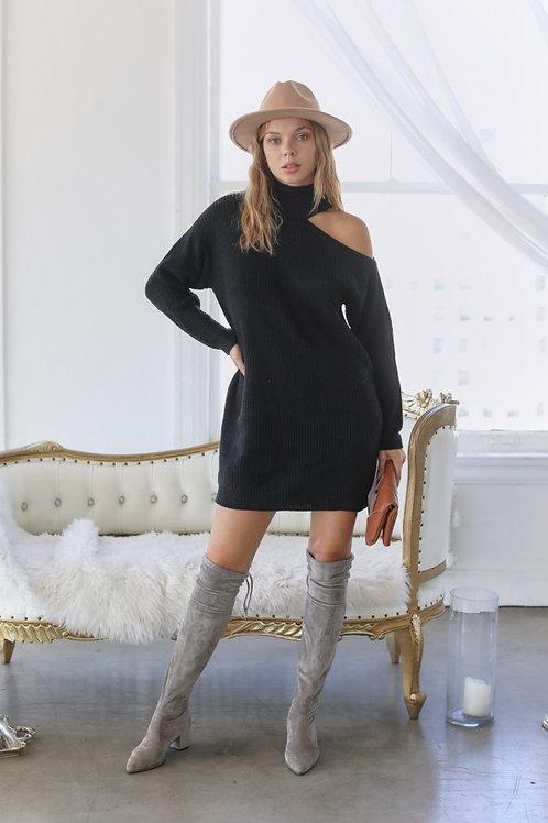 Black One Shoulder Sweater Dress