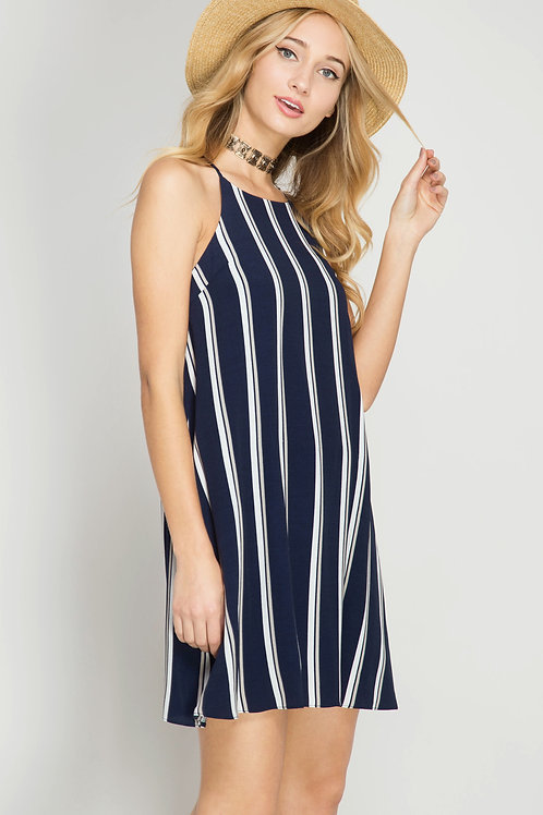 Silk Blend Navy Striped Shift Dress