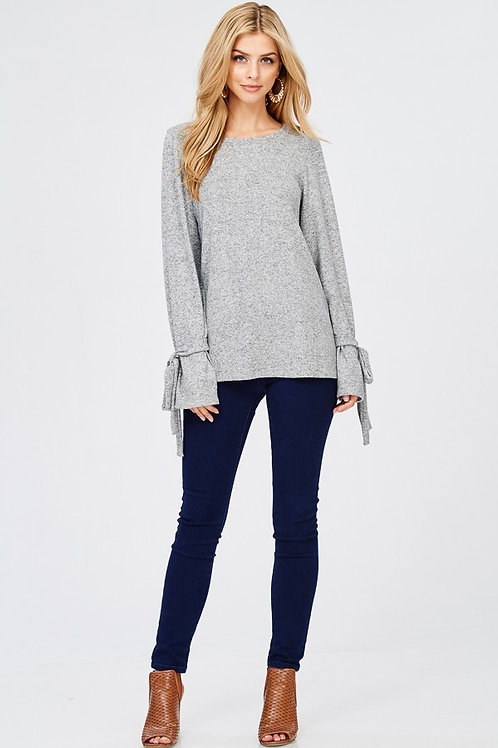 Gray Bell Sleeve Ribbon Tie Sweater
