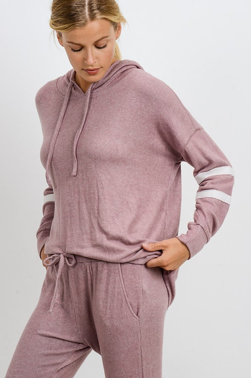 Pink Striped Pullover Sweatshirt