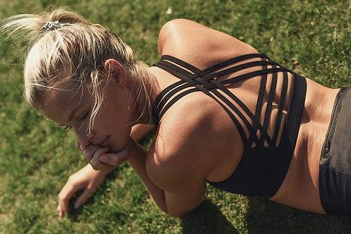 Black Strappy Sports Bra Crop Top