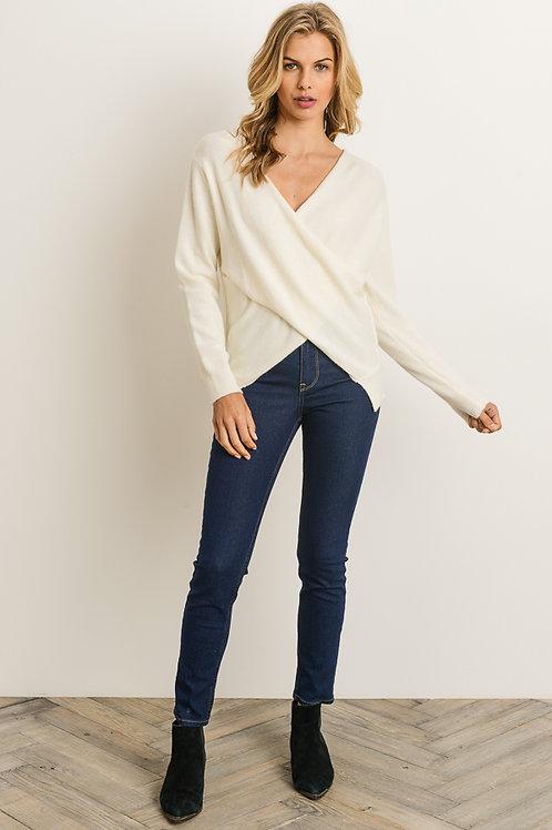 Cream Overlapping V-Neck Sweater
