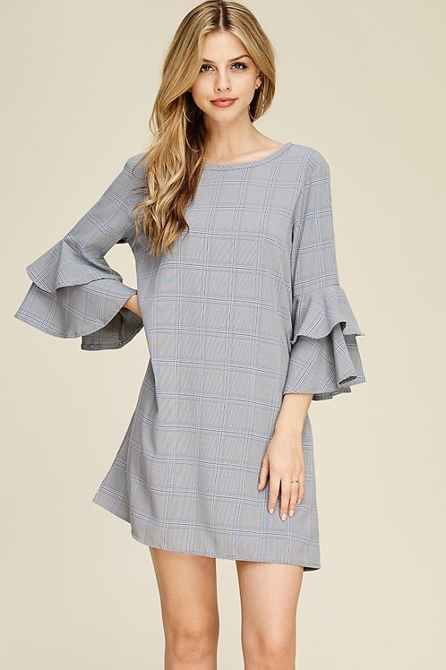 Gray Gingham Plaid Ruffled Bell Sleeve Dress