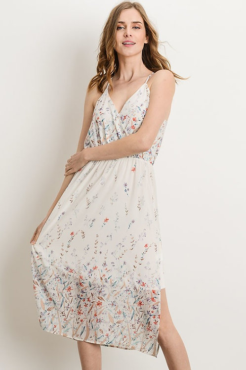 Ivory Midi Delicate Floral Dress